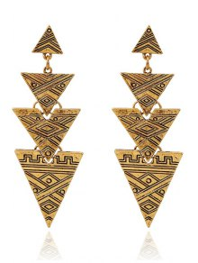 Carving Stitching Triangle Drop Earrings