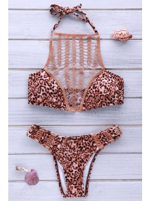 High-Cut Combined Lace Leopard Bikini Set - Leopard