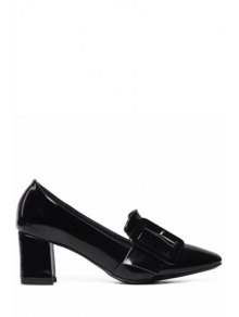 Solid Color Buckle Chunky Heel Pumps - Black 39