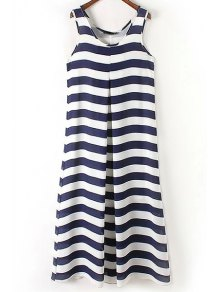 Stripe Scoop Neck Maxi Sundress - Blue And White