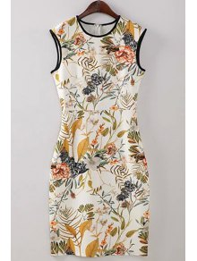 Floral Round Neck Bodycon Sundress