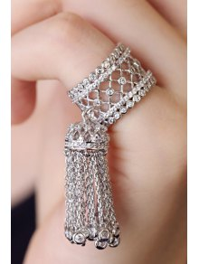 Rhinestoned Hollow Out Tassel Ring