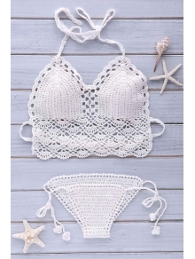 Buy Crochet Halter Solid Color Bikini Set ONE SIZE(FIT SIZE XS TO M) WHITE