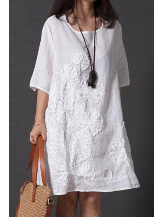 Holgada de cuello redondo vestido de la media manga - Blanco M
