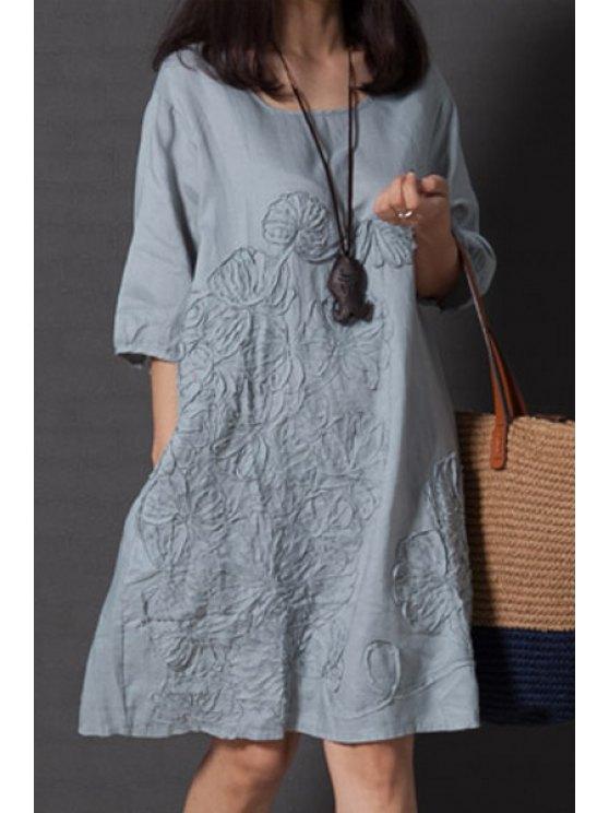 Holgada de cuello redondo vestido de la media manga - Azul Claro XL