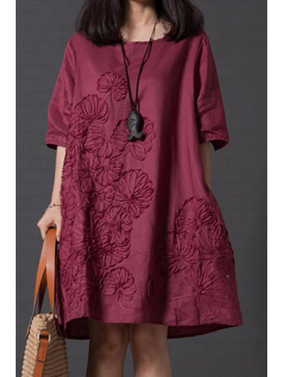 outfit Smock Oversized V Back Dress - WINE RED 2XL