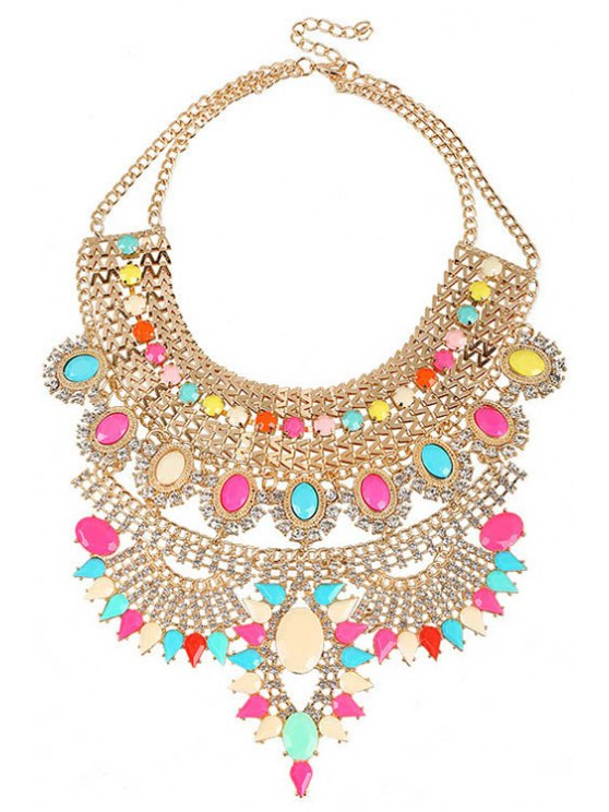 new Faux Crystal Decorated Chunky Necklace - COLORMIX