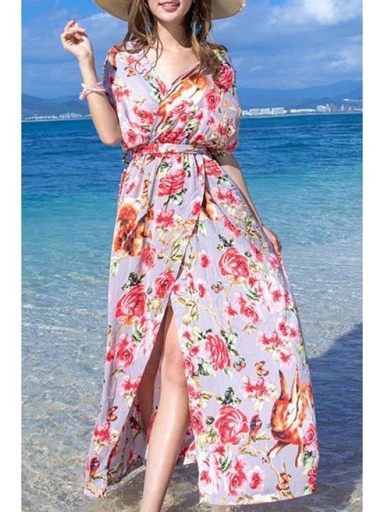 Impresión floral de la raja Vestido sin mangas de alta Halter - Rojo S