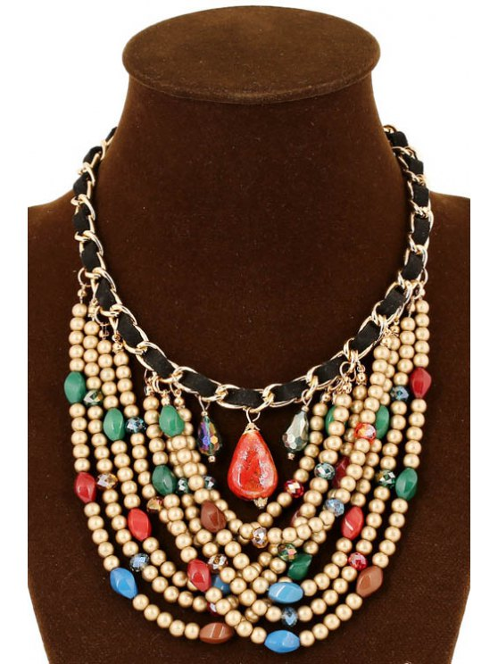 Stylish Multi-Layered Bead Necklace - COLORMIX  Mobile