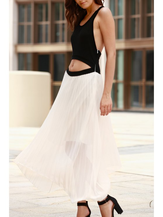 hot Cut Out Two Tone Maxi Dress - WHITE AND BLACK S