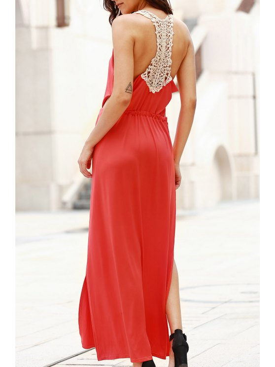 online Cut Out Scoop Neck Lace Spliced Maxi Dress - RED M