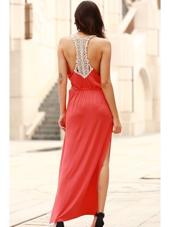 Cut Out Scoop Neck Lace Spliced Maxi Dress - RED M Mobile