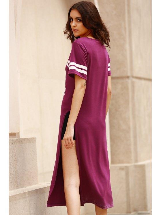 High Slit Round Neck Short Sleeve Letter Print Dress - PURPLE S Mobile