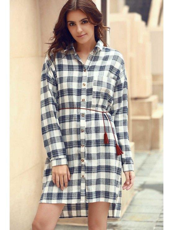 Camisa de tela escocesa del collar camisa de vestir de manga larga - Colormix L