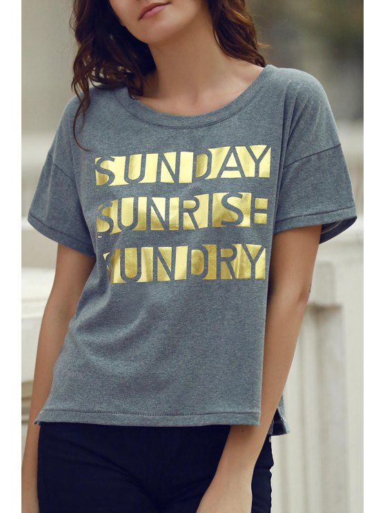 ladies Letter Print Short Sleeve Round Neck T-Shirt - GRAY M