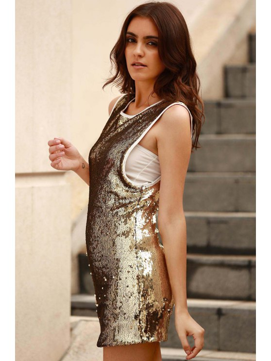 Sequins Round Collar Sleeveless Bodycon Dress - GOLDEN M Mobile