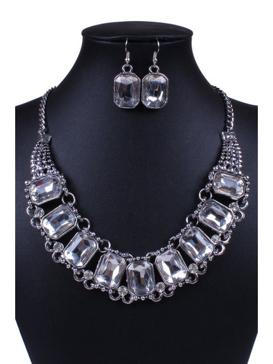 outfit Faux Crystal Rectangle Necklace and Earrings - SILVER