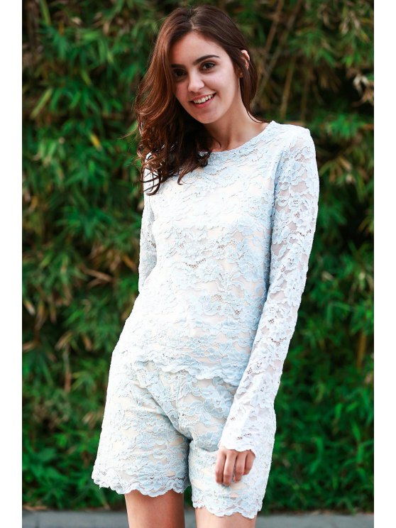 Lace Round Neck Long Sleeve T-Shirt and Shorts Suit - BLUE L Mobile