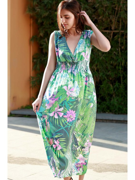 affordable Floral Print Plunging Neck Sleeveless Maxi Dress - GREEN L