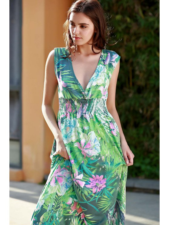 Floral Print Plunging Neck Sleeveless Maxi Dress - GREEN L Mobile