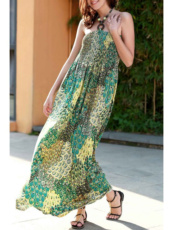 buy Printed Halter Strapless Maxi Dress - GREEN S