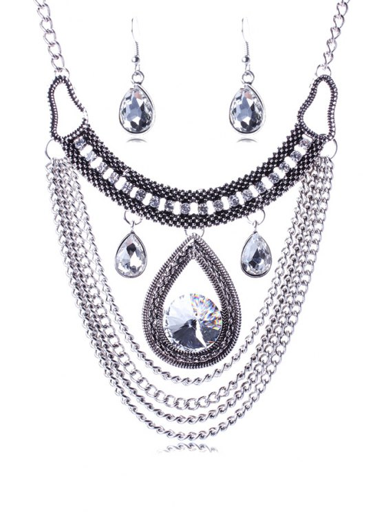 Multi-Layered Faux Crystal Water Drop Necklace and Earrings - SILVER  Mobile