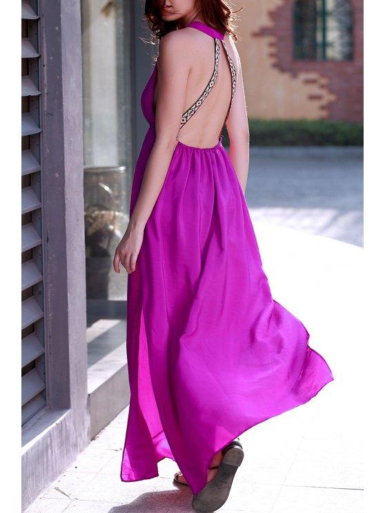 Purple Plunging Neck Backless Maxi Dress - PURPLE L Mobile