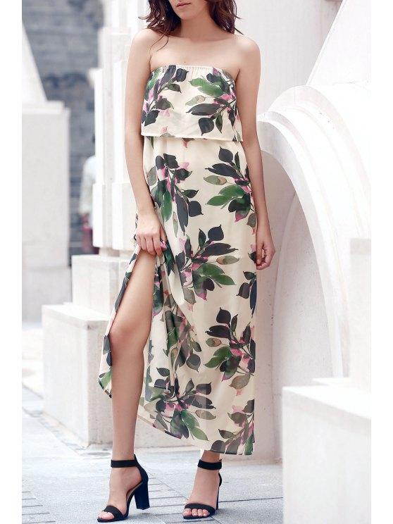 Hawaiian Bandeau Leaf Print Flowing Maxi Dress - OFF-WHITE L Mobile