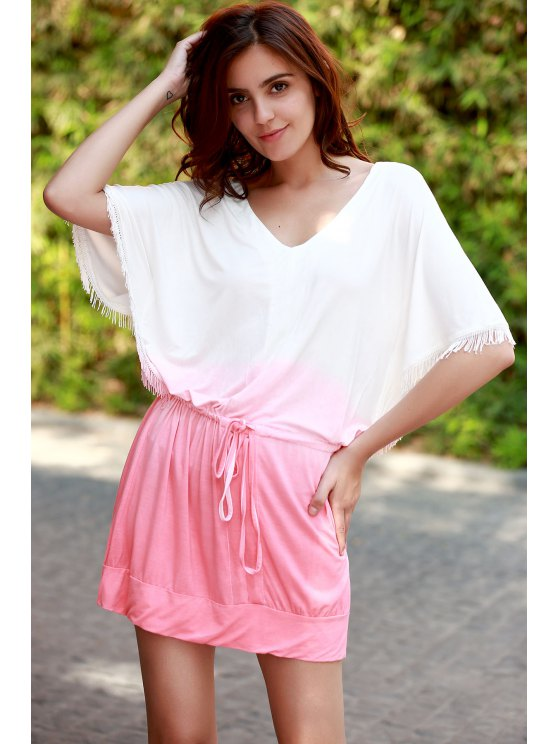Ombre Color V Neck Half Sleeve Dress - PINK XL Mobile
