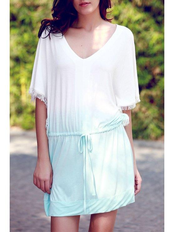 best Ombre Color V Neck Half Sleeve Dress - GREEN M