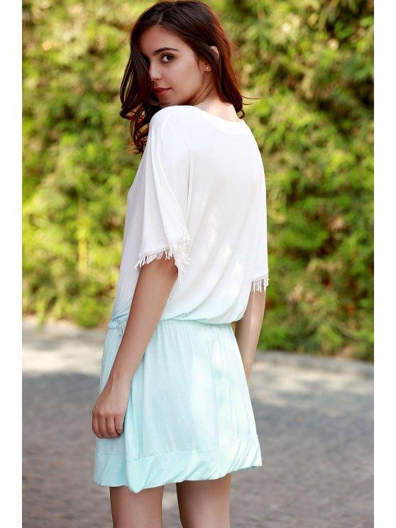 Ombre Color V Neck Half Sleeve Dress - GREEN XL Mobile