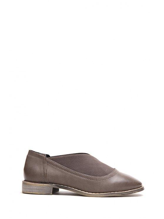 Banda elástica dedo del pie cuadrado zapatos planos - Gris 36