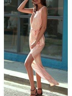 Zig Zag Print Plunging Neck Sleeveless Maxi Dress - Orangepink Xl