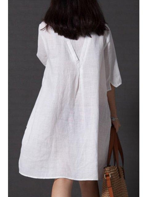 outfit Smock Oversized V Back Dress - WHITE M Mobile