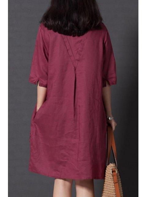 outfit Smock Oversized V Back Dress - WINE RED 2XL Mobile
