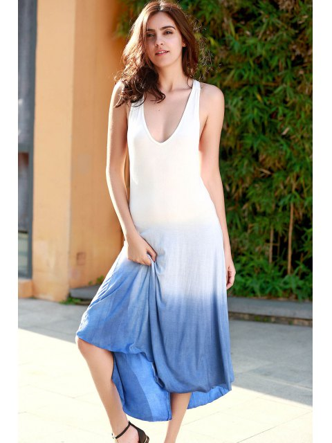 best Blue Ombre Color Plunging Neck Sleeveless Sundress - BLUE M Mobile