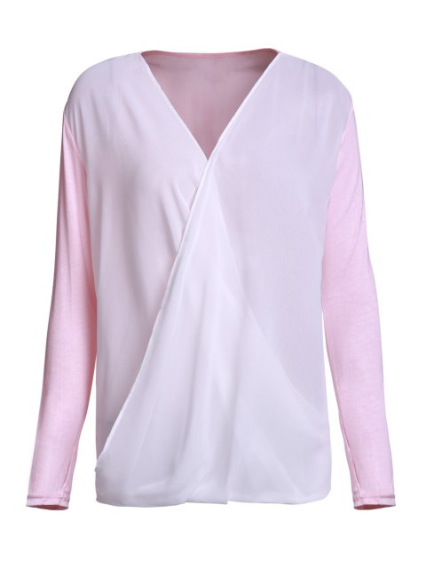 outfit Cross-Over Collar Draped Blouse - PINK XL Mobile