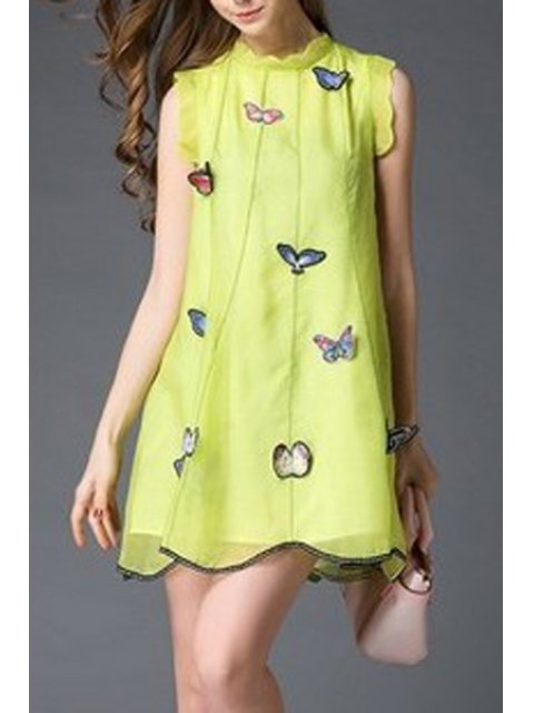 chic Butterfly Embroidery Stand Neck Sleeveless Dress - YELLOW S Mobile