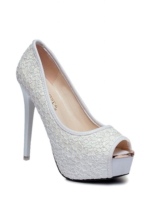 affordable Lace Platform Stiletto Heel Peep Toe Shoes - WHITE 35 Mobile