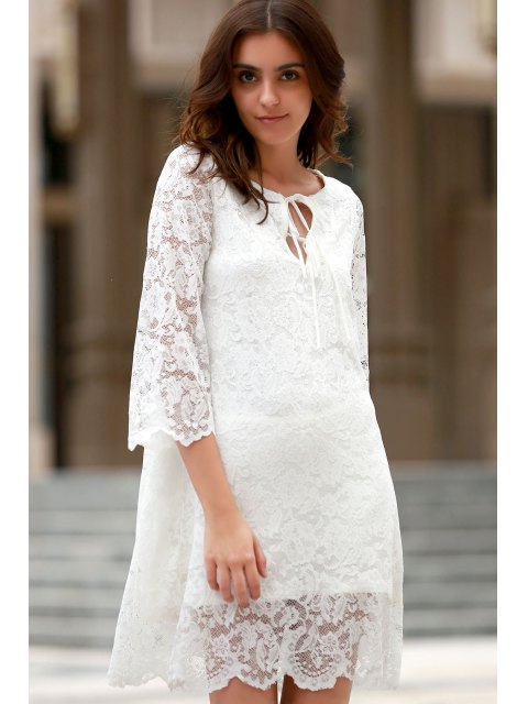 fashion Lace Scoop Neck 3/4 Sleeve Dress - WHITE S Mobile