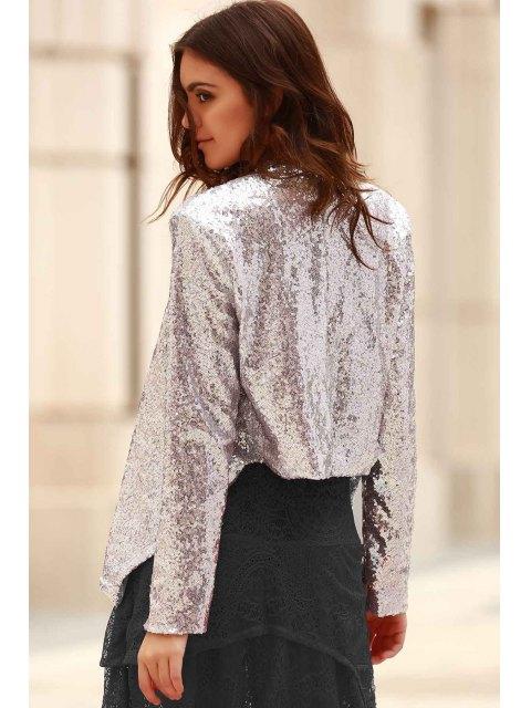 outfit Asymmetric Long Sleeve Sequins Coat - SILVER L Mobile