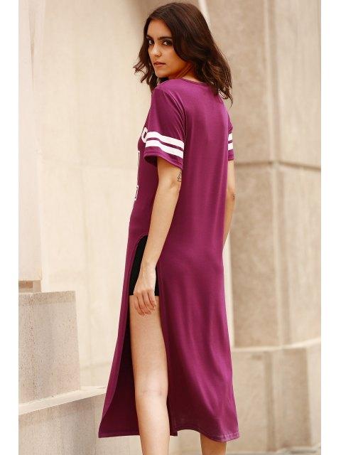 fancy High Slit Round Neck Short Sleeve Letter Print Dress - PURPLE S Mobile