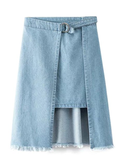 best Irregular Hem Frayed Denim Skirt - BLUE M Mobile