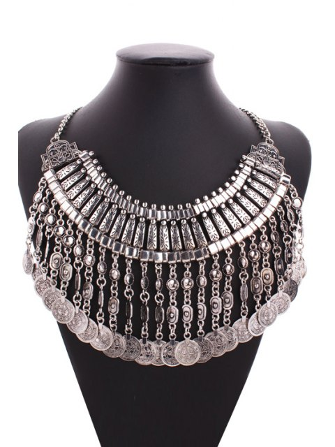 fancy Multi-Layered Alloy Coin Tassel Sweater Chain - SILVER  Mobile