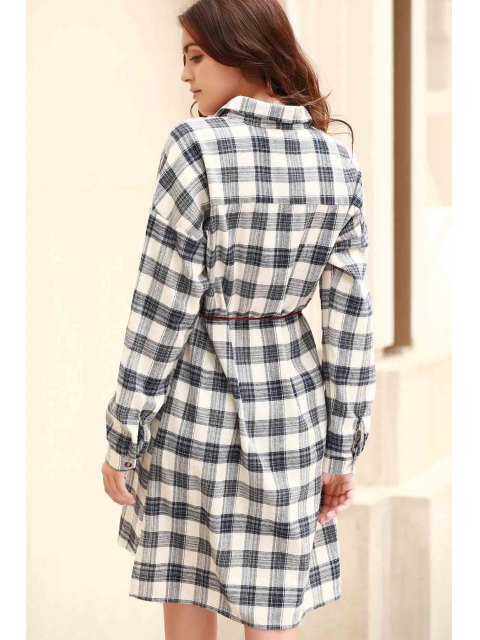 trendy Plaid Shirt Collar Long Sleeve Shirt Dress - COLORMIX L Mobile