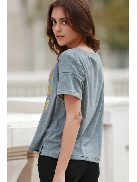 ladies Letter Print Short Sleeve Round Neck T-Shirt - GRAY M Mobile