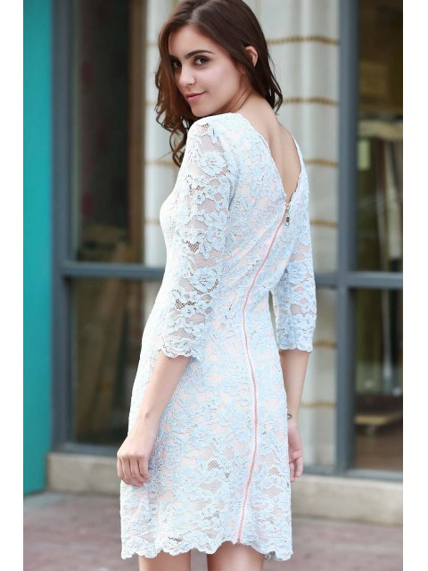 trendy Lace Round Neck 3/4 Sleeve Dress - BLUE L Mobile