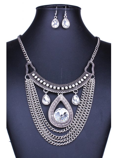 new Multi-Layered Faux Crystal Water Drop Necklace and Earrings - SILVER  Mobile