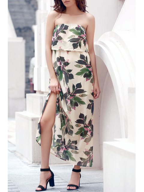 women's Hawaiian Bandeau Leaf Print Flowing Maxi Dress - OFF-WHITE M Mobile