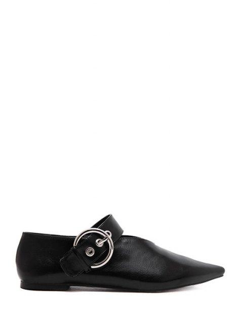 fancy V-Shape Buckle Black Flat Shoes - BLACK 38 Mobile